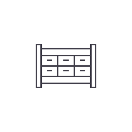 file cabinet drawer vector line icon, sign, illustration on white background, editable strokes