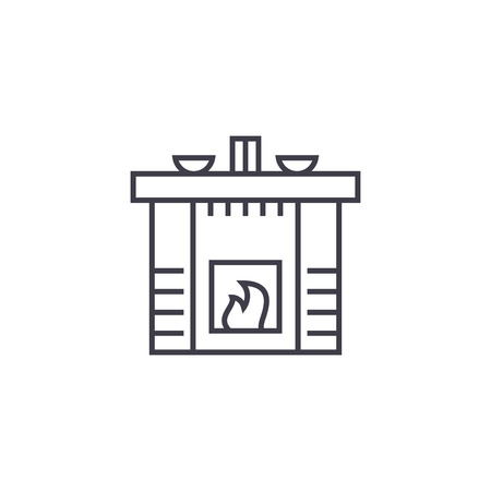 fireplace  vector line icon, sign, illustration on white background, editable strokes Иллюстрация