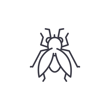 fly vector line icon, sign, illustration on white background, editable strokes  イラスト・ベクター素材