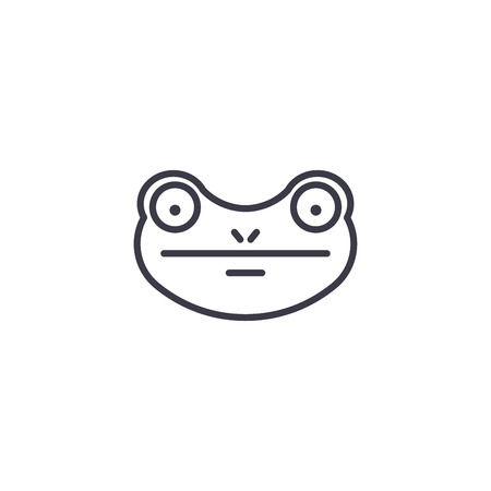 frog vector line icon, sign, illustration on white background, editable strokes