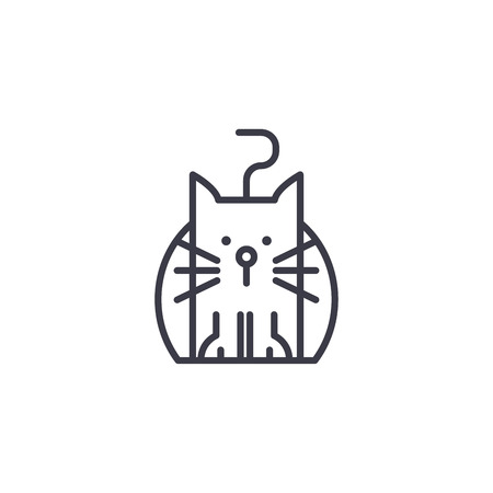 funny cat vector line icon, sign, illustration on white background, editable strokes