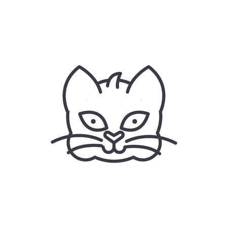 home cat head vector line icon, sign, illustration on white background, editable strokes