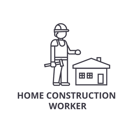 home construction worker vector line icon, sign, illustration on white background, editable strokes