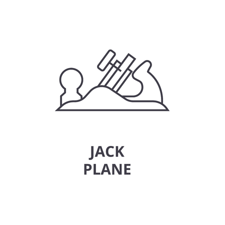 jack plane vector line icon, sign, illustration on white background, editable strokes