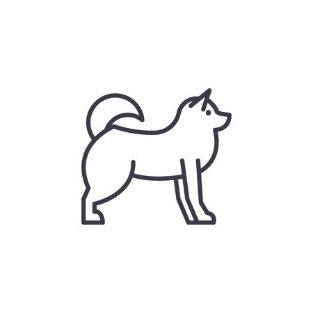husky  vector line icon, sign, illustration on white background, editable strokes Stock Vector - 100817189