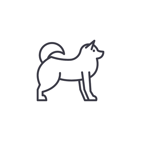 husky  vector line icon, sign, illustration on white background, editable strokes