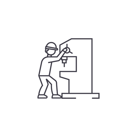 industrial drill vector line icon, sign, illustration on white background, editable strokes