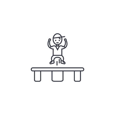 jumping on trampoline  vector line icon, sign, illustration on white background, editable strokes Ilustracja