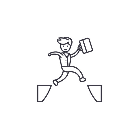 jumping over vector line icon, sign, illustration on white background, editable strokes