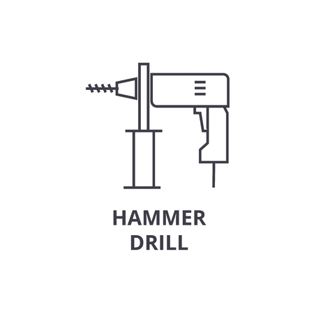 hammer drill vector line icon, sign, illustration on white background, editable strokes Illustration