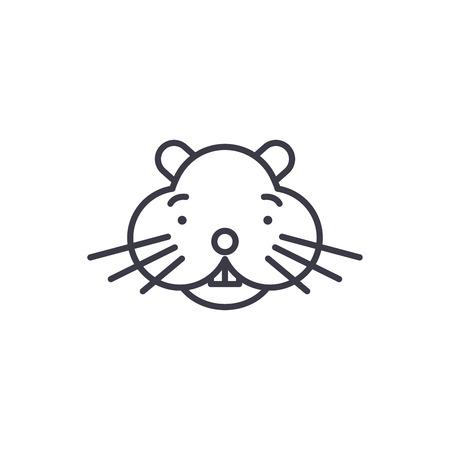 hamster head vector line icon, sign, illustration on white background, editable strokes Illustration