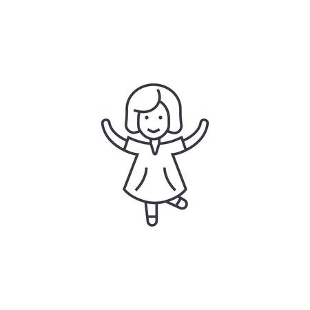 glückliches Mädchen, das Vektorlinienikone, Zeichen, Illustration auf weißem Hintergrund, bearbeitbare Striche springt Vektorgrafik
