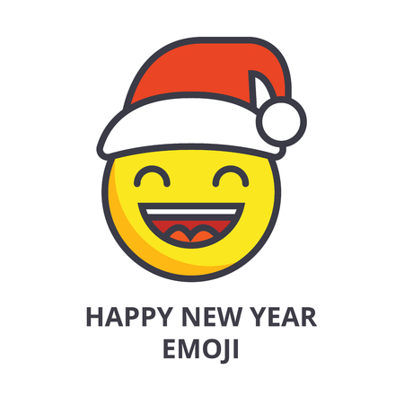 happy new year emoji vector line icon, sign, illustration on white background, editable strokes