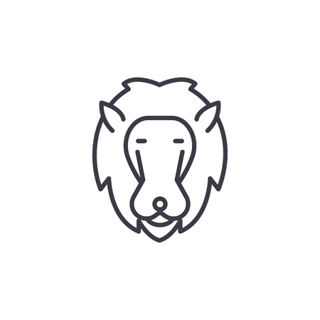 lion head vector line icon, sign, illustration on white background, editable strokes