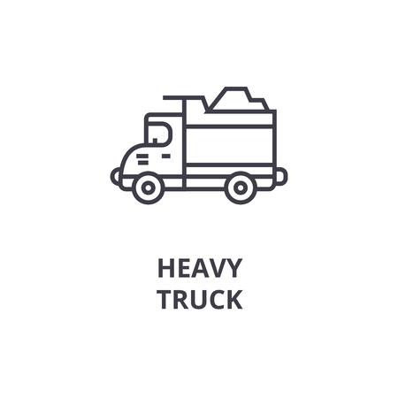 heavy truck vector line icon, sign, illustration on white background, editable strokes Illustration