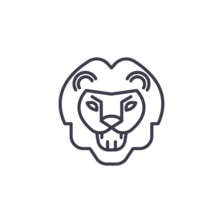 lion roar vector line icon, sign, illustration on white background, editable strokes
