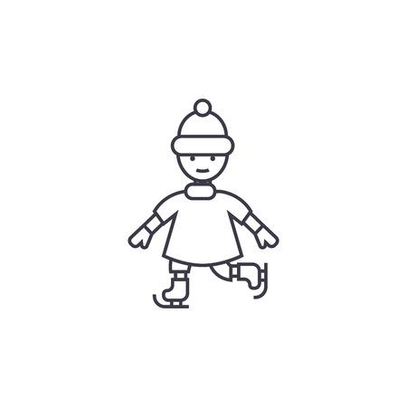 Icône de ligne vecteur patinage enfant, signe, illustration sur fond blanc, traits modifiables