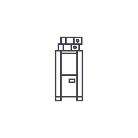 locker, cabinet vector line icon, sign, illustration on white background, editable strokes