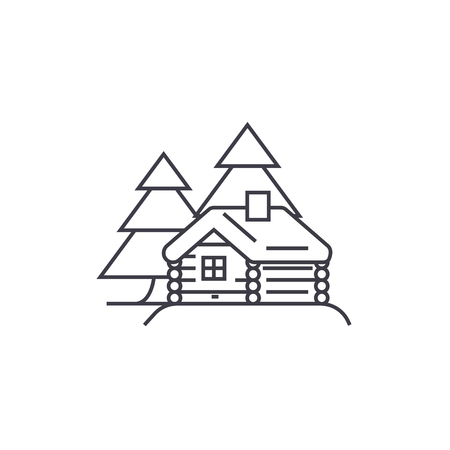 log cabin vector line icon, sign, illustration on white background, editable strokes