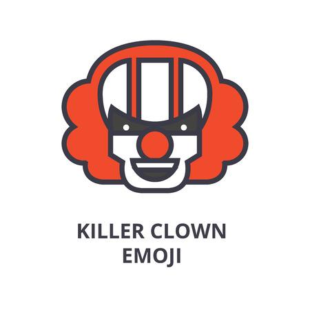 killer clown emoji vector line icon, sign, illustration on white background, editable strokes