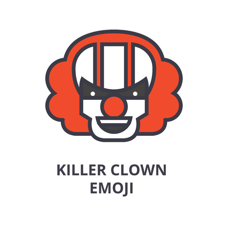 killer clown emoji vector line icon, sign, illustration on white background, editable strokes