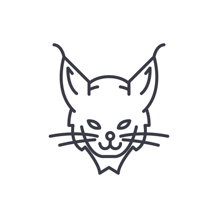 lynx head vector line icon, sign, illustration on white background, editable strokes