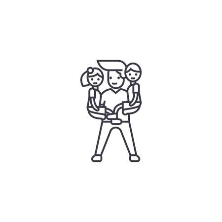 man babysitter vector line icon, sign, illustration on white background, editable strokes