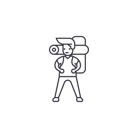 man going camping vector line icon, sign, illustration on white background, editable strokes