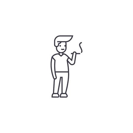 man smoking vector line icon, sign, illustration on white background, editable strokes