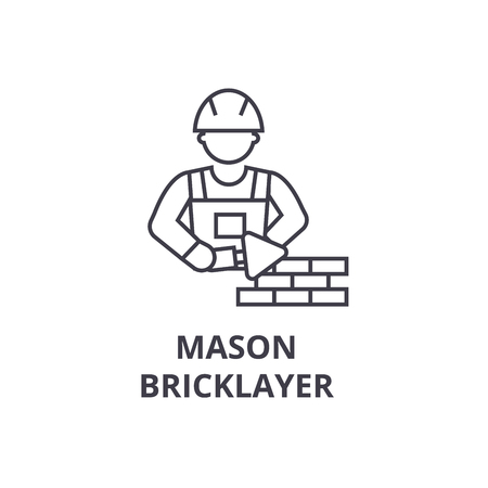 Mason bricklayer vector line icon, sign, illustration on white background, editable strokes