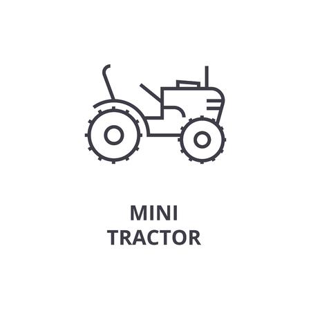Mini tractor vector line icon, sign, illustration on white background, editable strokes