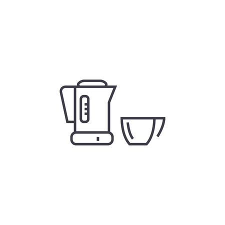 Mixer with a bowl vector line icon, sign, illustration on white background, editable strokes Иллюстрация