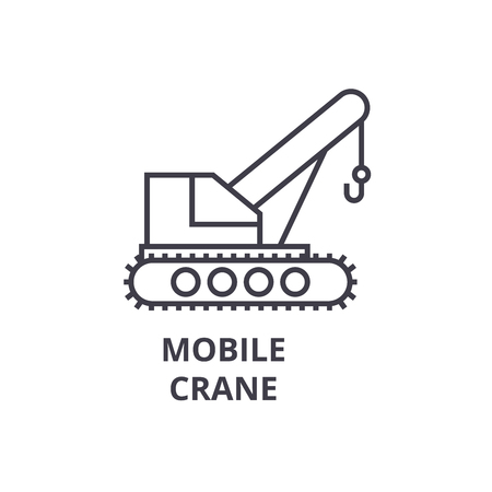 Mobile crane vector line icon, sign, illustration on white background, editable strokes Ilustracja
