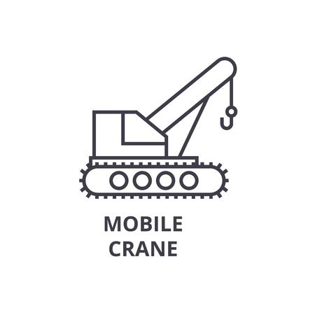 Mobile crane vector line icon, sign, illustration on white background, editable strokes Illustration