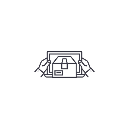 Mobile delivery vector line icon, sign, illustration on white background, editable strokes 向量圖像