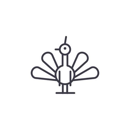 peacock vector line icon, sign, illustration on white background, editable strokes Stock Illustratie