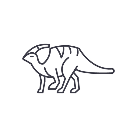 parasaurolophus vector line icon, sign, illustration on white background, editable strokes