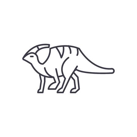 parasaurolophus vector line icon, sign, illustration on white background, editable strokes