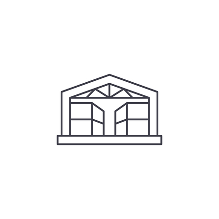 pavilion storehouse vector line icon, sign, illustration on white background, editable strokes