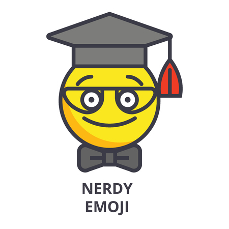nerdy student emoji vector line icon, sign, illustration on white background, editable strokes