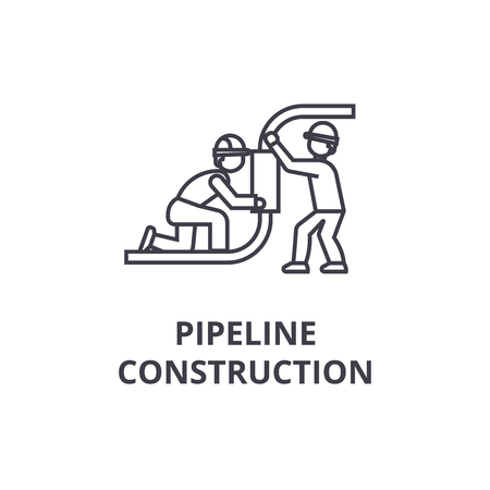 pipeline construction vector line icon, sign, illustration on white background, editable strokes Ilustração