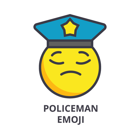 policeman emoji vector line icon, sign, illustration on white background, editable strokes