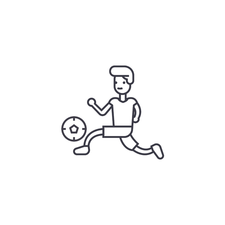 playing football vector line icon, sign, illustration on white background, editable strokes