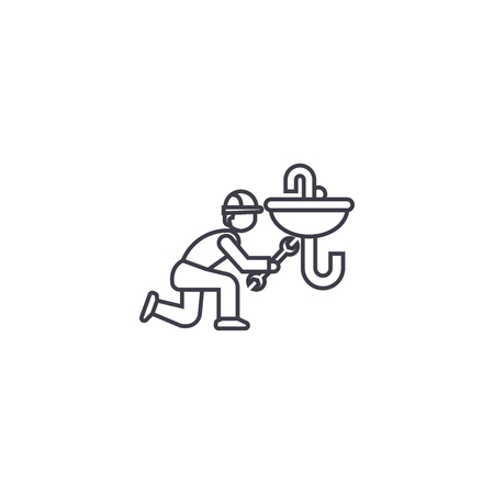 plumbing maintenance vector line icon, sign, illustration on white background, editable strokes
