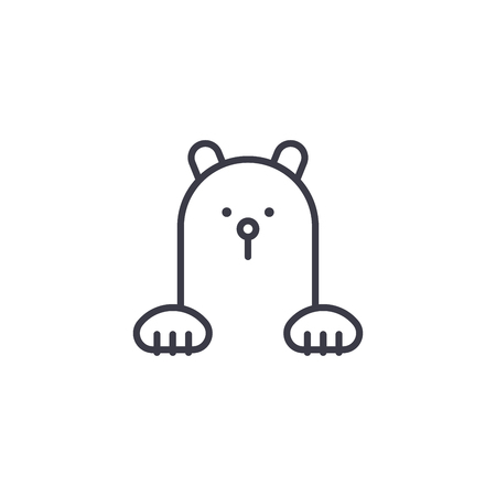 polar bear vector line icon, sign, illustration on white background, editable strokes Çizim