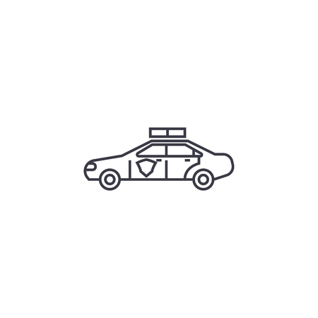 police vehicle vector line icon, sign, illustration on white background, editable strokes Illustration
