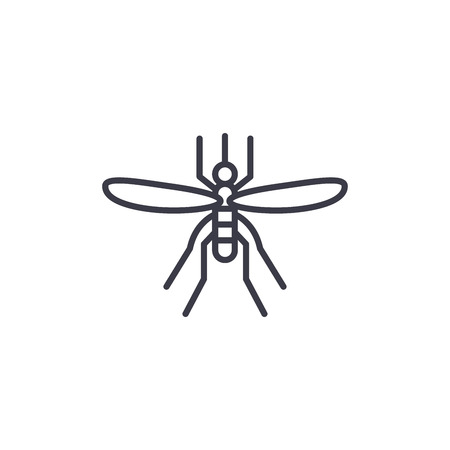 Mosquito vector line icon, sign, illustration on white background, editable strokes