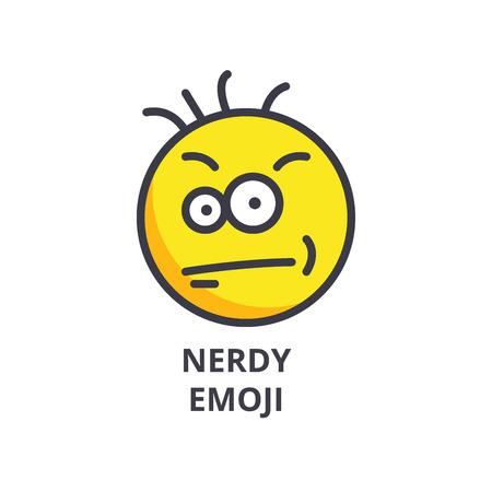Nerdy geek emoji vector line icon, sign, illustration on white background, editable strokes Illustration