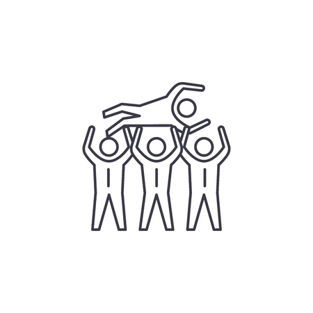 people celebrating vector line icon, sign, illustration on white background, editable strokes