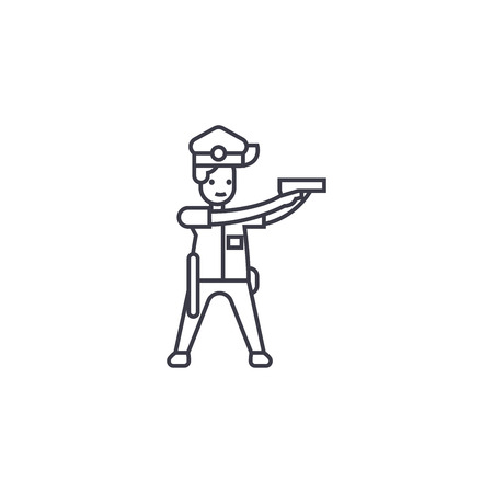 policeman aiming vector line icon, sign, illustration on white background, editable strokes